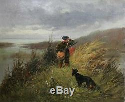 Old Oil On Canvas Signed Hunting In The Sea Brittany Duck Woodcock