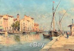 Old Oil On Canvas Signed Malfroy View Of The Port Of Martigues
