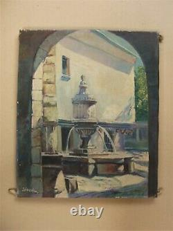 Old Oil On Canvas Signed Sirval Fountain Peyra In Vence