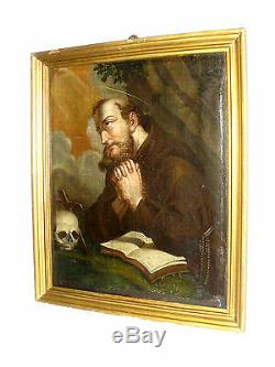 Old Oil On Canvas St. Anthony Prayer Vanity In Nineteenth Century Human Skull