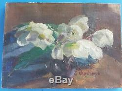 Old Oil On Canvas, Still Life, Artist Signature Bouquet