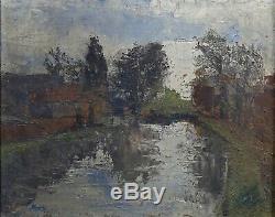Old Oil On Cardboard Fort Landscape In Golden Frame Impressionist River