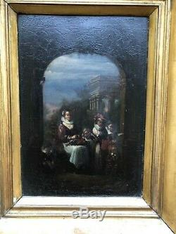 Old Oil On Panel Fin 17th Mother And Children Painting 17th