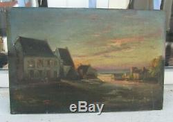 Old Oil On Panel Painting Adrien Simoneton (1862-1949) Evening 1916