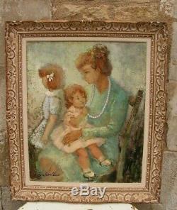 Old Oil Painting Mother And Her Children Under Montparnasse G. Buchaillat