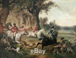 Old Oil Painting Of The Nineteenth Century Hunting Scene Oil On Canvas