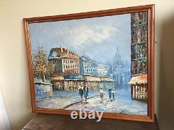 Old Oil Painting On Canvas Burnett (xx-s) View Of Bets