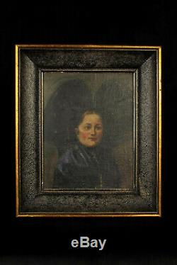 Old Oil Painting On Canvas, Dated 1920 / Young Alsatian Headdress