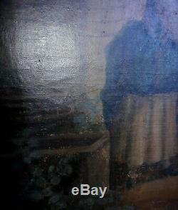 Old Oil Painting On Canvas Great Picture Charming Genre Scene De