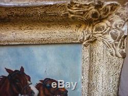 Old Oil Painting On Canvas Hst Sulky Horses Horses Hippisme Bon Etat