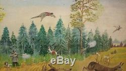 Old Oil Painting On Canvas Hunting Scene