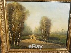 Old Oil Painting On Canvas Landscape Signed XIX S