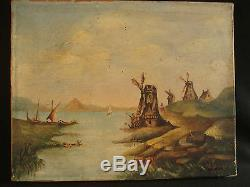Old Oil Painting On Canvas Landscape With Mills, Holland Louis Mathey 1893