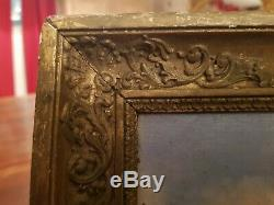Old Oil Painting On Canvas Landscape XIX S Framework Empire