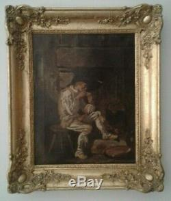 Old Oil Painting On Canvas Man Smoking A Pipe French School 19th