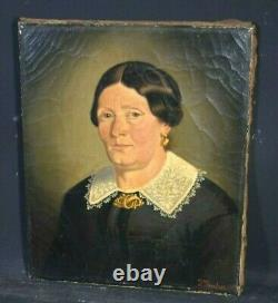 Old Oil Painting On Canvas Portrait Lady Quality English School 19th