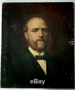 Old Oil Painting On Canvas Portrait Of An Important Nineteenth Century Man