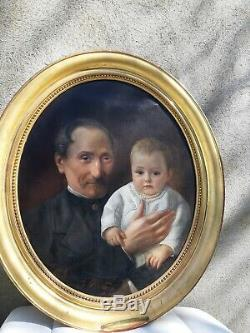 Old Oil Painting On Canvas Portrait Signed And Dated 1866 French Painting Hst