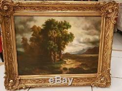Old Oil Painting On Canvas Signed Landscape Old Golden Frame