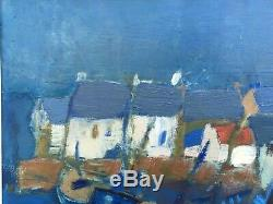 Old Oil Painting On Canvas Signed Quere Rene Dahut Breton Breast Painter Island