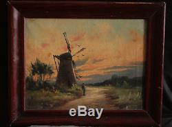 Old Oil Painting On Landscape At The MILL Signed Bary Late Nineteenth