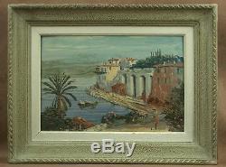 Old Oil Painting On Marine Panel Villefranche Signee Louis Vigon