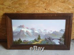 Old Oil Painting On Panel Astrid Walford Mountain Landscape Alpes Oisans