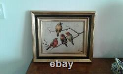 Old Oil Painting On Panel The 4 Birds Honoré Camos 1906-1991