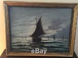 Old Oil Painting On Panel To Define (xixe-s) Lake Geneva In Lausanne