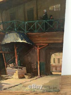 Old Oil Painting On Panel To Define (xixe-s) Old Inn Under Porch