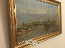 Old Oil Painting On Panels, Landscapes Of Winter, Mountain, Snow. Sign