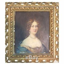 Old Oil Painting On Table Portrait Of Young Woman Late 19th Century