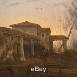 Old Oil Paintings On Canvas Landscape With Figures Under 800
