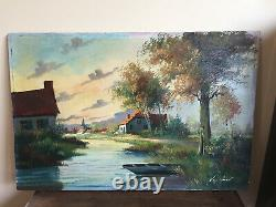 Old Oil-on-canvas Table To Be Defined (xxth-s) Village Border Water Courses