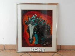 Old Paint Horse Oil Sheet Metallic Signed On 76 Ivanovitch