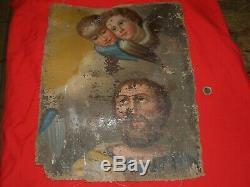 Old Paint On Canvas 17 / 18th To Restore / Religious