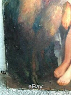 Old Paint On Cardboard End 19th Fauna And Bacchante Erotica 19th