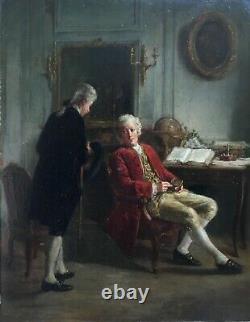 Old Painting By Dansaert, Oil On Panel, Interior Scene, Frame, 19th Century
