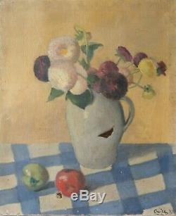 Old Painting Flowers Bouquet Purple Oil On Canvas Signed In 1938