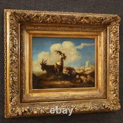 Old Painting Goats Painting Sheep Landscape Oil On Canvas 18th Century