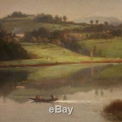 Old Painting Landscape Oil Painting Signed 800 19th Century Framework