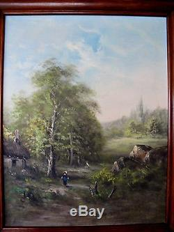 Old Painting Oil On Canvas Landscape Countryside Barn Nineteenth Barbizon