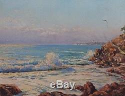 Old Painting Oil On Canvas Marc Chailloux Sea