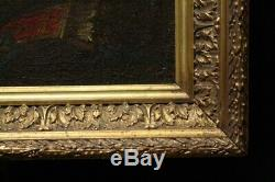 Old Painting / Oil On Canvas Not Signed Cupid Framed Italian School