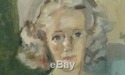 Old Painting Oil On Canvas Portrait By Marie Madeleine Ozeray Howet