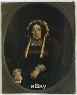 Old Painting Oil On Canvas Signed Female Portrait, Hat 1852