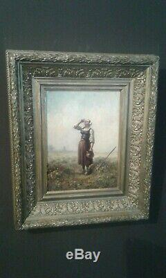 Old Painting Oil On Canvas Woman 1894 / Old Painting 19 Th