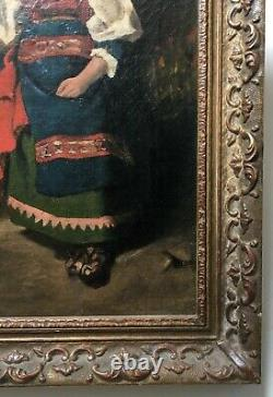 Old Painting, Oil On Canvas, Young Girl In Costume, Italy, Ciociaria, 19th