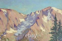 Old Painting Oil On Panel Painting Mountains Signed XX Old Mountain