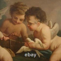 Old Painting Oil Painting Game Cherubs 800 19th Century